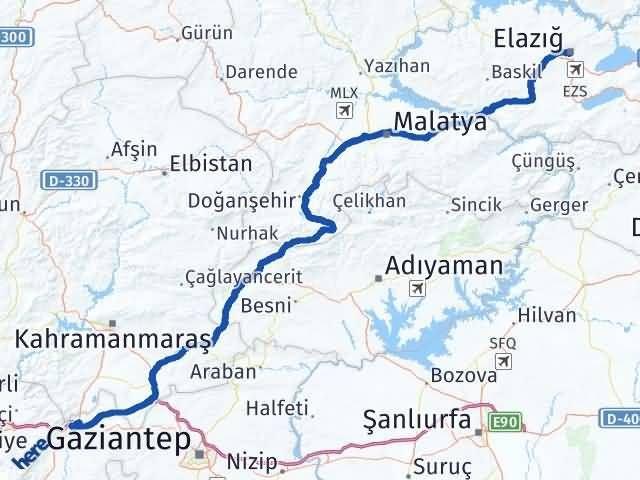 Gaziantep Nurdağı Elazığ Arası Kaç Km? Arası Kaç Km Saat? Nerede Yol Haritası Yakıt, Rota ve Mesafe Hesaplama