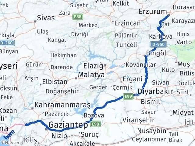 Gaziantep Nurdağı Erzurum Arası Kaç Km? Arası Kaç Km Saat? Nerede Yol Haritası Yakıt, Rota ve Mesafe Hesaplama