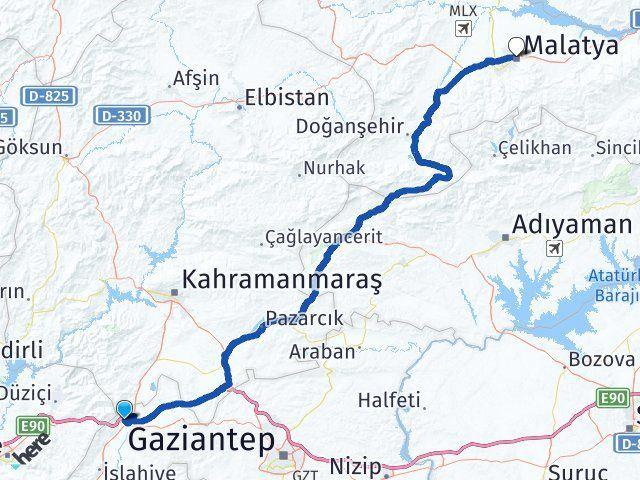 Gaziantep Nurdağı Malatya Arası Kaç Km? Arası Kaç Km Saat? Nerede Yol Haritası Yakıt, Rota ve Mesafe Hesaplama