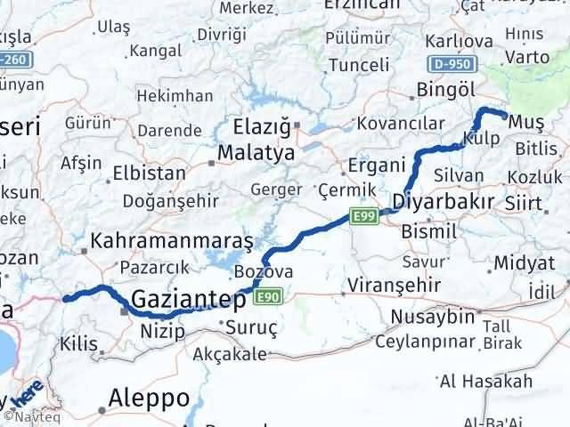Gaziantep Nurdağı Muş Arası Kaç Km? Arası Kaç Km Saat? Nerede Yol Haritası Yakıt, Rota ve Mesafe Hesaplama