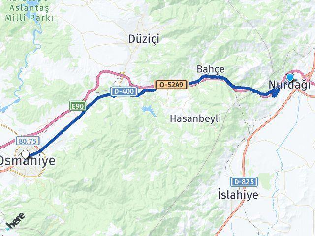 Gaziantep Nurdağı Osmaniye Arası Kaç Km? Arası Kaç Km Saat? Nerede Yol Haritası Yakıt, Rota ve Mesafe Hesaplama