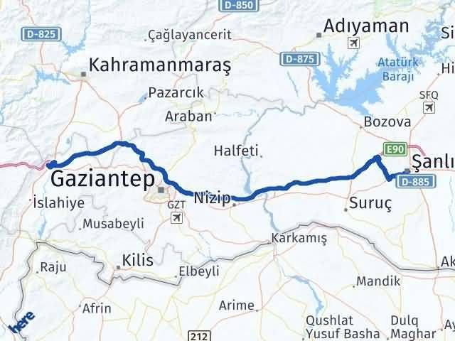 Gaziantep Nurdağı Şanlıurfa Arası Kaç Km? Arası Kaç Km Saat? Nerede Yol Haritası Yakıt, Rota ve Mesafe Hesaplama