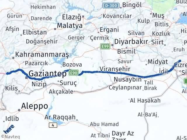 Gaziantep Nurdağı Şırnak Arası Kaç Km? Arası Kaç Km Saat? Nerede Yol Haritası Yakıt, Rota ve Mesafe Hesaplama