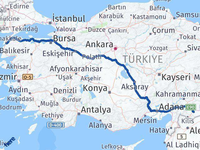 Gaziantep Oğuzeli Çanakkale Arası Kaç Km? Arası Kaç Km Saat? Nerede Yol Haritası Yakıt, Rota ve Mesafe Hesaplama