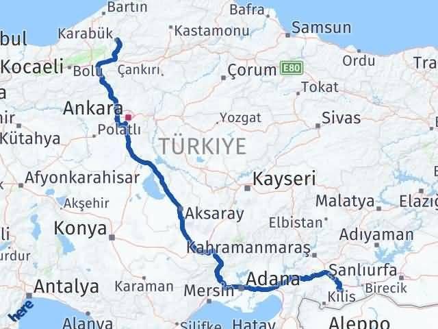Gaziantep Oğuzeli Karabük Arası Kaç Km? Arası Kaç Km Saat? Nerede Yol Haritası Yakıt, Rota ve Mesafe Hesaplama