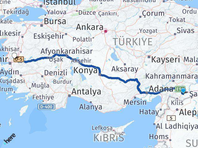 Gaziantep Oğuzeli Manisa Arası Kaç Km? Arası Kaç Km Saat? Nerede Yol Haritası Yakıt, Rota ve Mesafe Hesaplama