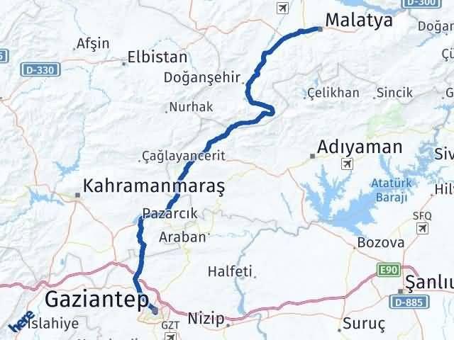 Gaziantep Şahinbey Malatya Arası Kaç Km? Arası Kaç Km Saat? Nerede Yol Haritası Yakıt, Rota ve Mesafe Hesaplama