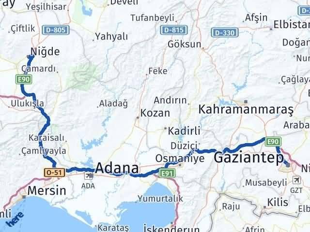 Gaziantep Şahinbey Niğde Arası Kaç Km? Arası Kaç Km Saat? Nerede Yol Haritası Yakıt, Rota ve Mesafe Hesaplama