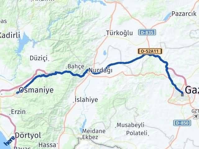 Gaziantep Şahinbey Osmaniye Arası Kaç Km? Arası Kaç Km Saat? Nerede Yol Haritası Yakıt, Rota ve Mesafe Hesaplama