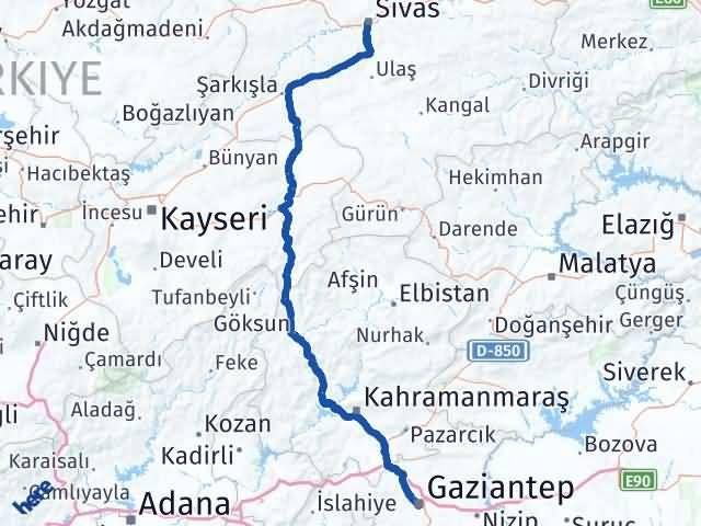 Gaziantep Şahinbey Sivas Arası Kaç Km? Arası Kaç Km Saat? Nerede Yol Haritası Yakıt, Rota ve Mesafe Hesaplama
