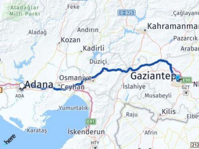 Gaziantep Şehitkamil Adana Arası Kaç Km? Arası Kaç Km Saat? Nerede Yol Haritası Yakıt, Rota ve Mesafe Hesaplama