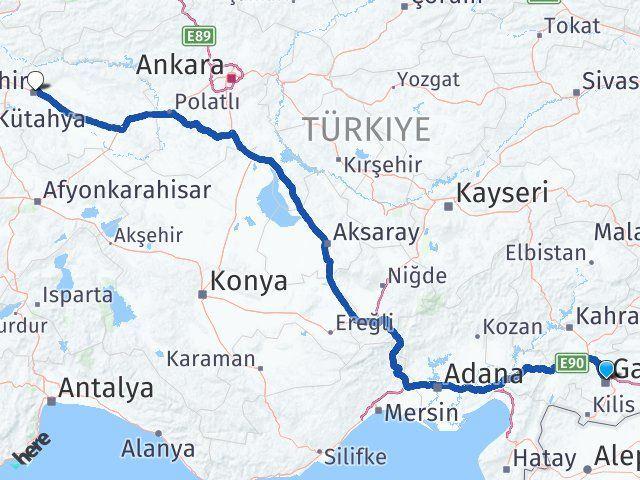 Gaziantep Şehitkamil Eskişehir Arası Kaç Km? Arası Kaç Km Saat? Nerede Yol Haritası Yakıt, Rota ve Mesafe Hesaplama