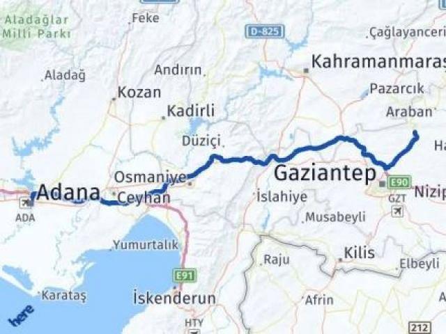 Gaziantep Yavuzeli Adana Arası Kaç Km? Arası Kaç Km Saat? Nerede Yol Haritası Yakıt, Rota ve Mesafe Hesaplama