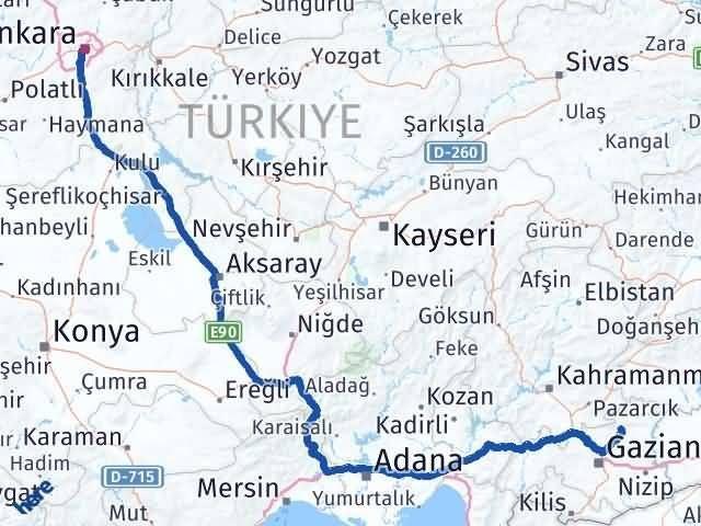Gaziantep Yavuzeli Ankara Arası Kaç Km? Arası Kaç Km Saat? Nerede Yol Haritası Yakıt, Rota ve Mesafe Hesaplama