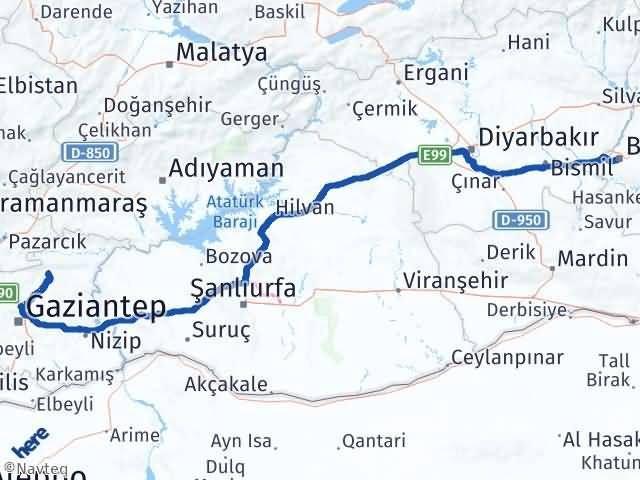 Gaziantep Yavuzeli Batman Arası Kaç Km? Arası Kaç Km Saat? Nerede Yol Haritası Yakıt, Rota ve Mesafe Hesaplama