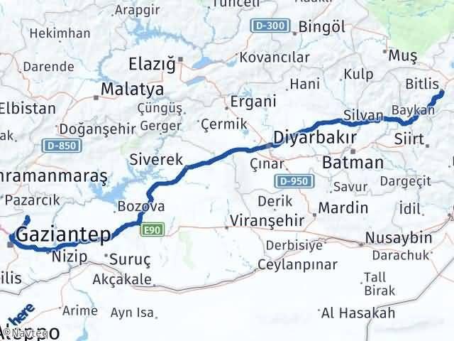 Gaziantep Yavuzeli Bitlis Arası Kaç Km? Arası Kaç Km Saat? Nerede Yol Haritası Yakıt, Rota ve Mesafe Hesaplama