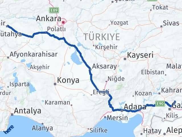 Gaziantep Yavuzeli Eskişehir Arası Kaç Km? Arası Kaç Km Saat? Nerede Yol Haritası Yakıt, Rota ve Mesafe Hesaplama