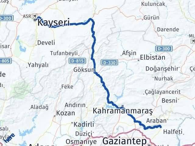 Gaziantep Yavuzeli Kayseri Arası Kaç Km? Arası Kaç Km Saat? Nerede Yol Haritası Yakıt, Rota ve Mesafe Hesaplama