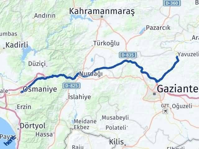 Gaziantep Yavuzeli Osmaniye Arası Kaç Km? Arası Kaç Km Saat? Nerede Yol Haritası Yakıt, Rota ve Mesafe Hesaplama