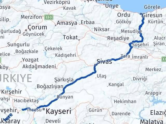 Giresun Avanos Nevşehir Arası Kaç Km? - Kmhesaplama.com Arası Kaç Km Saat? Nerede Yol Haritası Yakıt, Rota ve Mesafe Hesaplama
