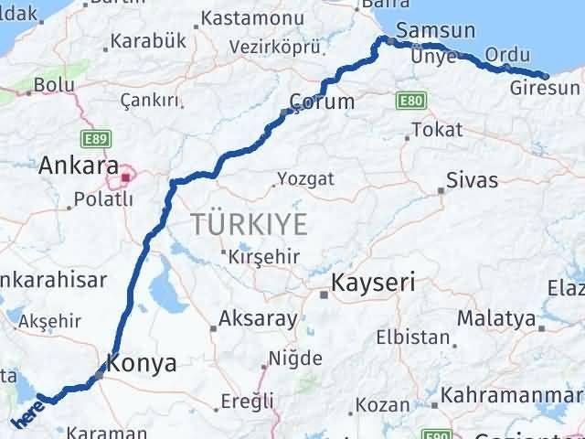 Giresun Beyşehir Konya Arası Kaç Km? - Kmhesaplama.com Arası Kaç Km Saat? Nerede Yol Haritası Yakıt, Rota ve Mesafe Hesaplama