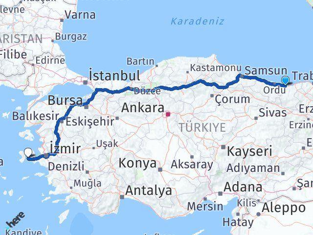 Giresun Çeşme İzmir Arası Kaç Km? - Kmhesaplama.com Arası Kaç Km Saat? Nerede Yol Haritası Yakıt, Rota ve Mesafe Hesaplama