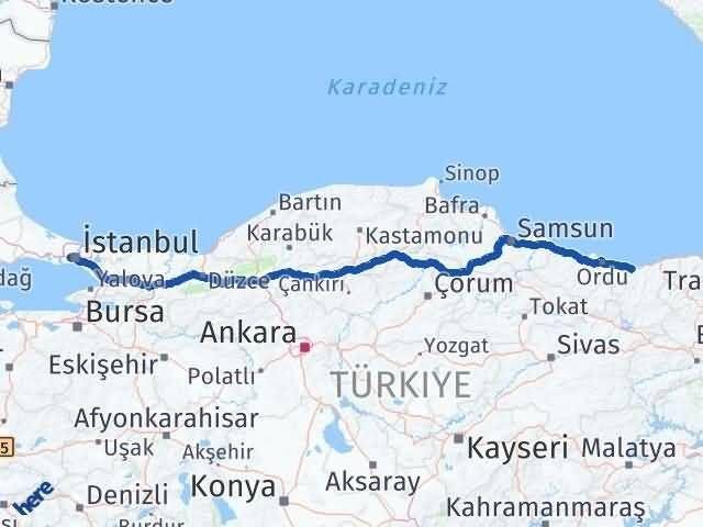 Giresun Gaziosmanpaşa İstanbul Arası Kaç Km? Arası Kaç Km Saat? Nerede Yol Haritası Yakıt, Rota ve Mesafe Hesaplama