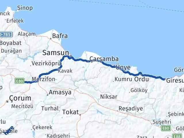 Giresun Gümüşhacıköy Amasya Arası Kaç Km? - Kmhesaplama.com Arası Kaç Km Saat? Nerede Yol Haritası Yakıt, Rota ve Mesafe Hesaplama