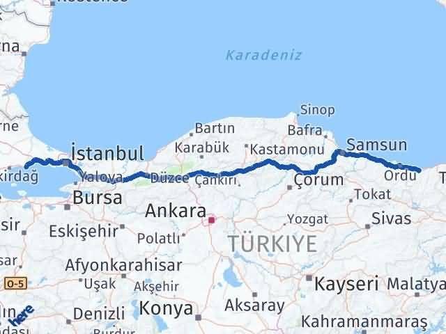 Giresun Marmaraereğlisi Tekirdağ Arası Kaç Km? Arası Kaç Km Saat? Nerede Yol Haritası Yakıt, Rota ve Mesafe Hesaplama