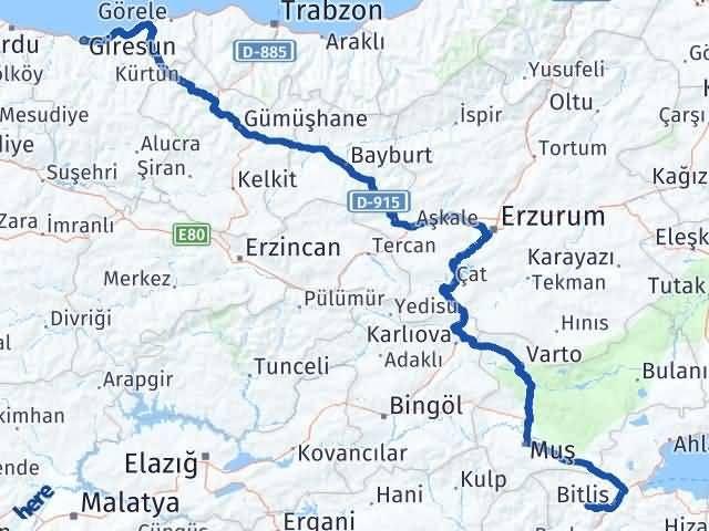 Giresun Mutki Bitlis Arası Kaç Km? - Kmhesaplama.com Arası Kaç Km Saat? Nerede Yol Haritası Yakıt, Rota ve Mesafe Hesaplama