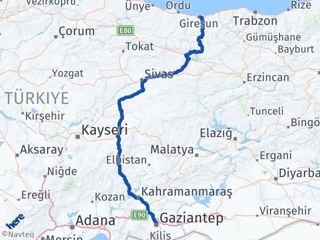 Giresun Şehitkamil Gaziantep Arası Kaç Km? Arası Kaç Km Saat? Nerede Yol Haritası Yakıt, Rota ve Mesafe Hesaplama