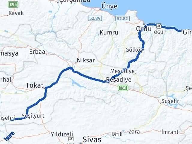 Giresun Sulusaray Tokat Arası Kaç Km? - Kmhesaplama.com Arası Kaç Km Saat? Nerede Yol Haritası Yakıt, Rota ve Mesafe Hesaplama