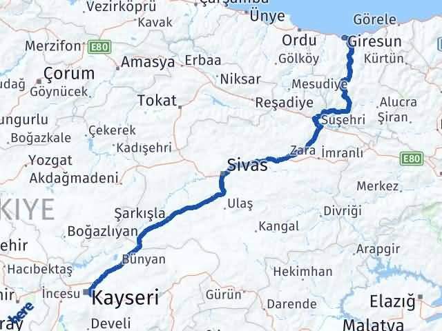 Giresun Talas Kayseri Arası Kaç Km? - Kmhesaplama.com Arası Kaç Km Saat? Nerede Yol Haritası Yakıt, Rota ve Mesafe Hesaplama