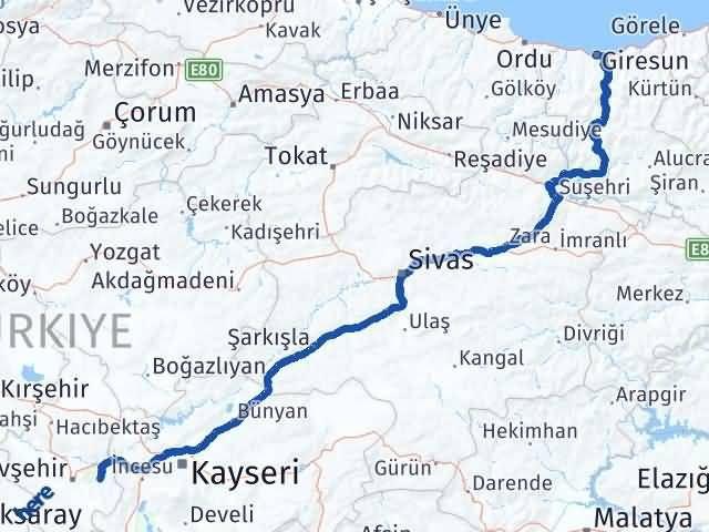Giresun Ürgüp Nevşehir Arası Kaç Km? - Kmhesaplama.com Arası Kaç Km Saat? Nerede Yol Haritası Yakıt, Rota ve Mesafe Hesaplama