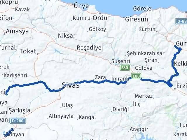 Gümüşhane Akdağmadeni Yozgat Arası Kaç Km? Arası Kaç Km Saat? Nerede Yol Haritası Yakıt, Rota ve Mesafe Hesaplama
