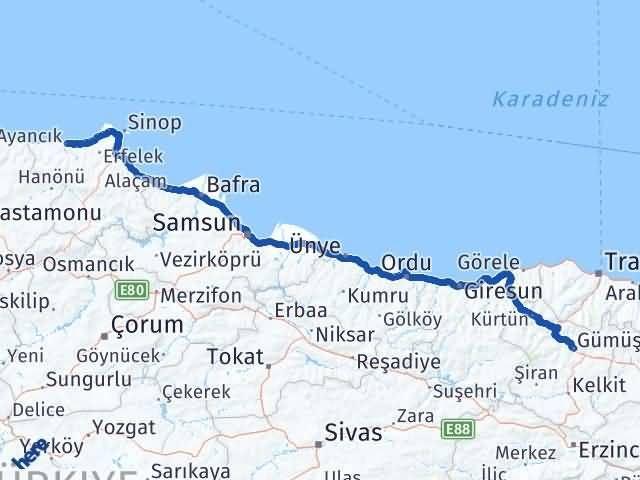 Gümüşhane Ayancık Sinop Arası Kaç Km? - Kmhesaplama.com Arası Kaç Km Saat? Nerede Yol Haritası Yakıt, Rota ve Mesafe Hesaplama