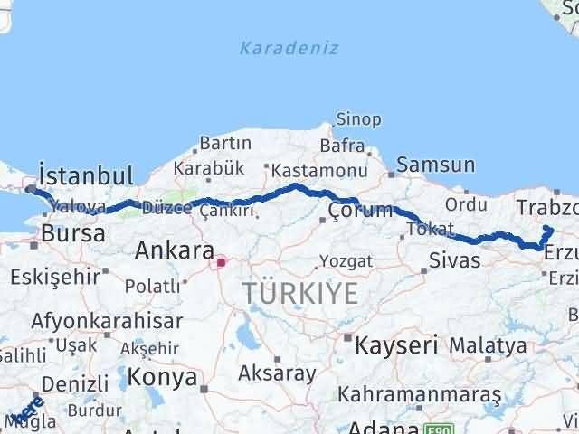 Gümüşhane Bayrampaşa İstanbul Arası Kaç Km? Arası Kaç Km Saat? Nerede Yol Haritası Yakıt, Rota ve Mesafe Hesaplama