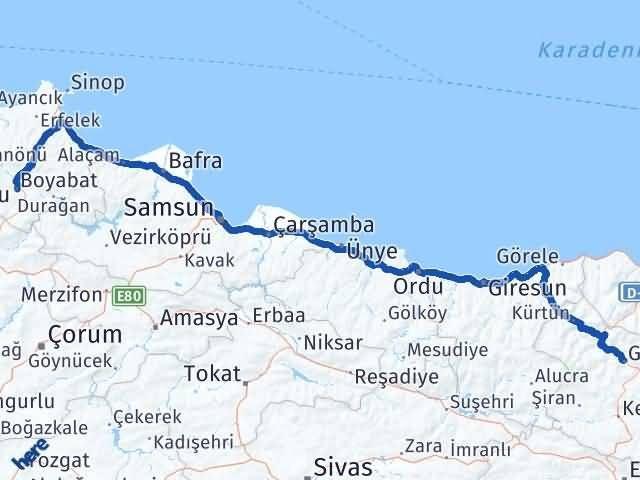 Gümüşhane Boyabat Sinop Arası Kaç Km? - Kmhesaplama.com Arası Kaç Km Saat? Nerede Yol Haritası Yakıt, Rota ve Mesafe Hesaplama