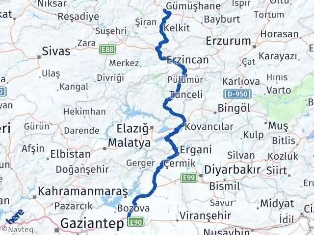 Gümüşhane Eyyübiye Şanlıurfa Arası Kaç Km? Arası Kaç Km Saat? Nerede Yol Haritası Yakıt, Rota ve Mesafe Hesaplama
