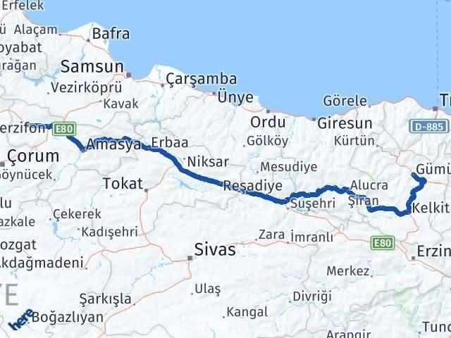 Gümüşhane Gümüşhacıköy Amasya Arası Kaç Km? Arası Kaç Km Saat? Nerede Yol Haritası Yakıt, Rota ve Mesafe Hesaplama