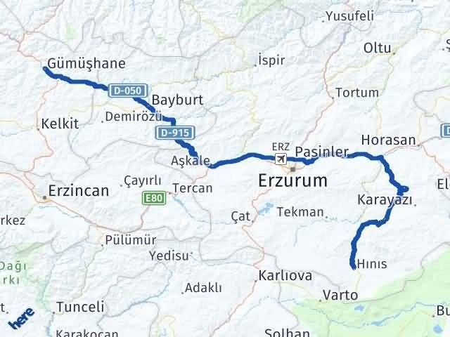 Gümüşhane Hınıs Erzurum Arası Kaç Km? - Kmhesaplama.com Arası Kaç Km Saat? Nerede Yol Haritası Yakıt, Rota ve Mesafe Hesaplama