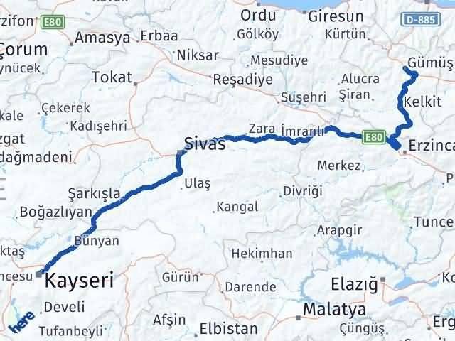 Gümüşhane Kocasinan Kayseri Arası Kaç Km? - Kmhesaplama.com Arası Kaç Km Saat? Nerede Yol Haritası Yakıt, Rota ve Mesafe Hesaplama