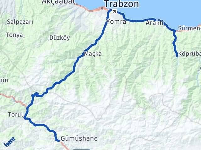 Gümüşhane Köprübaşı Trabzon Arası Kaç Km? - Kmhesaplama.com Arası Kaç Km Saat? Nerede Yol Haritası Yakıt, Rota ve Mesafe Hesaplama