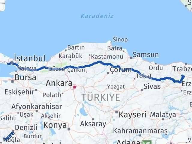 Gümüşhane Küçükçekmece İstanbul Arası Kaç Km? Arası Kaç Km Saat? Nerede Yol Haritası Yakıt, Rota ve Mesafe Hesaplama