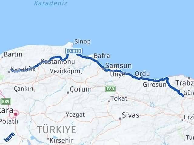 Gümüşhane Safranbolu Karabük Arası Kaç Km? Arası Kaç Km Saat? Nerede Yol Haritası Yakıt, Rota ve Mesafe Hesaplama
