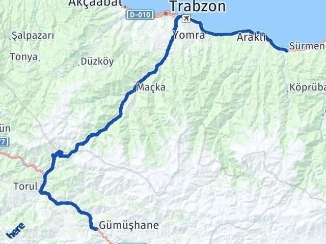 Gümüşhane Sürmene Trabzon Arası Kaç Km? - Kmhesaplama.com Arası Kaç Km Saat? Nerede Yol Haritası Yakıt, Rota ve Mesafe Hesaplama