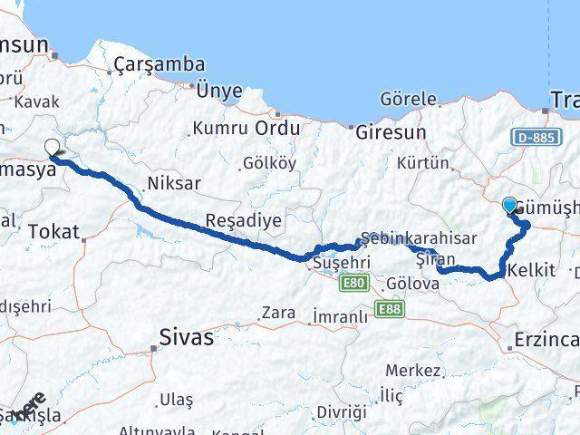 Gümüşhane Taşova Amasya Arası Kaç Km? - Kmhesaplama.com Arası Kaç Km Saat? Nerede Yol Haritası Yakıt, Rota ve Mesafe Hesaplama