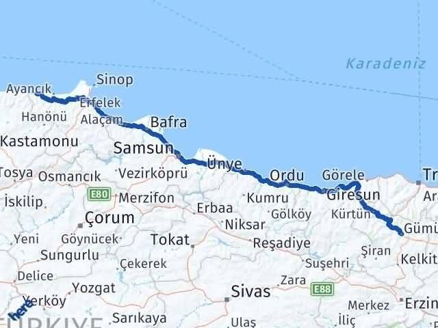 Gümüşhane Türkeli Sinop Arası Kaç Km? - Kmhesaplama.com Arası Kaç Km Saat? Nerede Yol Haritası Yakıt, Rota ve Mesafe Hesaplama