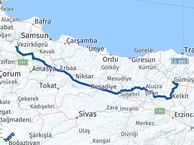 Gümüşhane Vezirköprü Samsun Arası Kaç Km? - Kmhesaplama.com Arası Kaç Km Saat? Nerede Yol Haritası Yakıt, Rota ve Mesafe Hesaplama