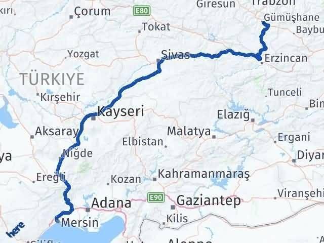 Gümüşhane Yenişehir Mersin Arası Kaç Km? - Kmhesaplama.com Arası Kaç Km Saat? Nerede Yol Haritası Yakıt, Rota ve Mesafe Hesaplama